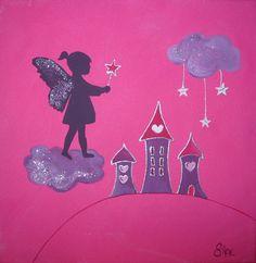 Pour les petites fées.... &Fée Nuage&. format 30x30cm & Papi-fleur&. format 20x20cm