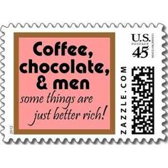 Funny women quotes postage stamp joke humor stamps by Wise_Crack Coffee Chocolate and men pink and brown