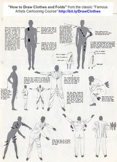Academy of Art Character and Creature Design Notes: Famous Artist's Cartoon Course: Lesson Clothes and Folds Drawing Tips, Drawing Reference, Suit Drawing, Gesture Drawing, Anatomy Reference, Drapery Drawing, Drawing Programs, Drawing Clothes, Art Studies