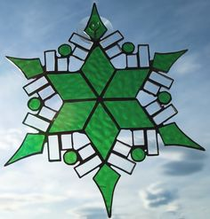 Green Snowflake Stained Glass