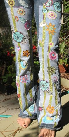 hippie denim patch work recycled retro jeans by SewUnruly on Etsy, $125.00