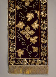 Stole   Russia. Second half of 19th century	  Velvet, metal thread, spun gold, tinsel; embroidered. 148x28.5 cm   Source of Entry:   State Museum of Ethnography of the Peoples of the USSR, Leningrad (formerly in the collection of F.M. Plyushkin). 1941