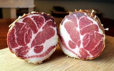 Fortuna's Sausage Italian Capicola |  The BEST Coppa (Capicola)! We serve with Mitica - Capricho de Cabra Rosemary and seeded toasted baguette  from Whole Foods drizzled with Lazarus Fig Sauce.  It is devine!!
