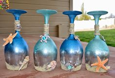 DIY-Ocean and Sea Wine Glass Candle Holders, Beach inspired wine glasses. Wine Glass Crafts, Wine Craft, Wine Bottle Crafts, Bottle Art, Wine Bottles, Seashell Crafts, Beach Crafts, Summer Crafts, Diy Crafts