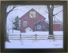 Pine Tree Quilt Block Barn Billy Jacobs Pictures Framed Country Picture Print