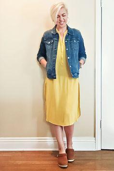 mom style, 5 confessions, spring dress, denim jacket, arvowear watch, lotta from stockholm clogs