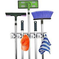 Home- It Mop and Broom Holder Wall Mount Garden Tool Storage Tool Rack Storage & Organization for the Home Plastic Hanger for Closet Garage Organizer Shed Organizer Basement Storage General Storage (5-position)