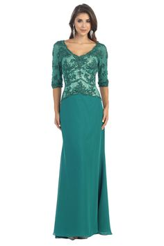 Long Formal Mother of the Bride Lace Applique Plus Size Evening Dress