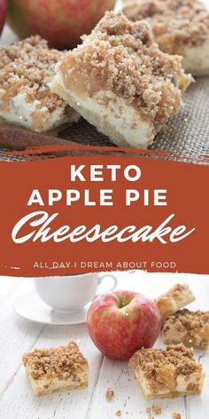 Apple pie meets rich cheesecake in these delicious Keto Apple Pie Cheesecake Bars. Creamy filling with apples and cinnamon and a delicious crumb topping. Low Carb Deserts, Low Carb Sweets, Low Carb Keto, Low Carb Recipes, Banting Recipes, Keto Bars, Ketogenic Desserts, Think Food, Keto Cheesecake