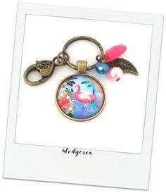 Porte clés bijou de sac flamant rose  tropical  par alodycrea - flamingo