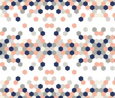 hex_pattern_coral fabric by fingersandtoes on Spoonflower - custom fabric