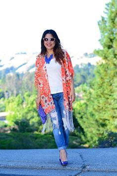WAYF orange floral kimono sleeve fringe cardigan, 7 for all Mankind Josefina boyfriend jeans, Pretty Ships Tulum blue embroidery clutch, Boutique 9 Navy blue patent leather pumps, Oliver Peoples Annaliesse sunglasses, Eye Like Fashion, bohemian chic outfit, boho look