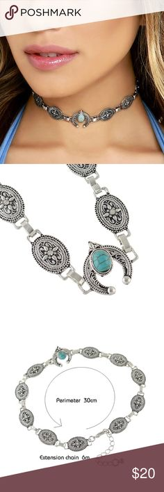 Ethnic Style Antique Pattern Choker Necklace Brand new! Ethnic Style Antique Silver Color Flower Pattern Choker Necklace Statement Necklace Blue Stone Decoration! Jewelry Necklaces