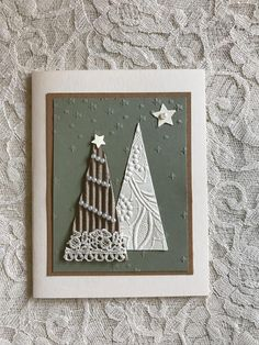 Lots of interesting dimension on this card. Style of lace will vary. 4.25 x 5.5 Envelope included.