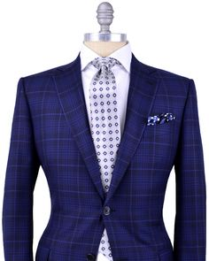 Ermenegildo Zegna | Navy Plaid with Blue Windowpane Sportcoat | Apparel | Men's