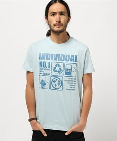 CURRENT(カレント)のCR グラフィックプリント半袖Tシャツ               (Tシャツ/カットソー)|スカイブルー