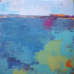 """Daily Painters Abstract Gallery: Abstract Landscape Painting, Contemporary Painting, """"Blue"""" by Carol Schiff, 8x8x1.5"""" Palette knife painting..."""