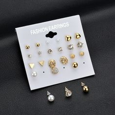 New Fashion 12 Pair/Set Square Crystal Heart Stud Earrings for Women. #jewelry #Earrings
