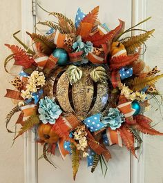 Fall Wreath w Metal Pumpkin,Thanksgiving Wreath, Feathers, Leaves in Bronze Green,Deco Mesh Wreath, Pumpkin Door Wreath,Fall Decor,Fall Mesh by SouthTXCreations on Etsy