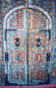 Ornately carved old door, Taroudant, Morocco