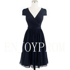 Sheath/Column Cap-shoulder Chiffon knee-Length Bridesmaid/Evening/Prom Dress$79.00