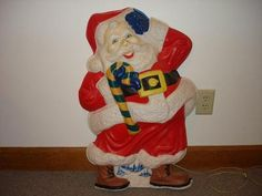 Vintage Christmas Blow Mold ~ Unique Santa w/ Flat Cardboard back by L.A. Goodman Mfg. Co.