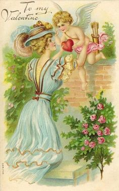 free vintage valentine cards pretty woman with cupid pink roses and red heart