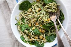 lemon + chickpea pasta w/ parsley pesto
