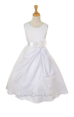 New-White-Satin-Flower-Girls-Dress-Design-Build-Your-Sash-Color-First-Communion