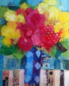 """Iris & Roses by Annie O'Brien Gonzales, Collage on canvas, 20"""" H x 16"""" W"""