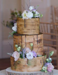 log effect rustic birch wedding cake