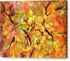 Autumn Grapes Symphony Canvas Print by Sabina Von Arx Canvas Art, Canvas Prints, Art Prints, Vegetable Painting, Nature Posters, Thing 1, Autumn Scenery, Creative Colour, Leaf Art