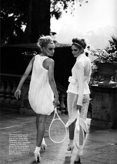 What's White Now | Jessica Stam & Heidi Mount | Peter Lindbergh  #photography | Harper's Bazaar US April 2010