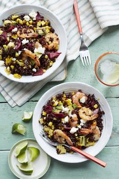 Black Rice, Shrimp and Charred Corn #healthy
