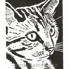 Thoughtful Tabby Cat - Original Hand Pulled Linocut Print £18.00