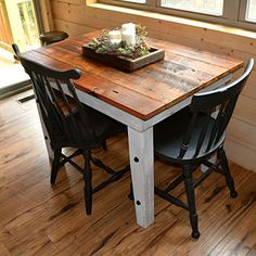 Reclaimed Wood Farmhouse Table - Sugar Mountain Woodworks - Handmade Rustic W Farmhouse Kitchen Tables, Farmhouse Furniture, Kitchen Furniture, Rustic Furniture, Rooms Furniture, Rustic Kitchens, Furniture Wax, Furniture Buyers, Furniture Websites
