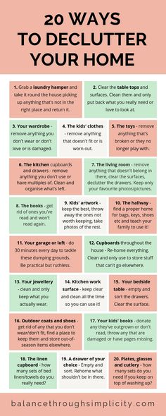 20 WAYS TO DECLUTTER YOUR HOME - How do you feel about your house right now? Is it a place that you love to be? Or is it a burden on your time and energy? House Cleaning Checklist, Household Cleaning Tips, Cleaning Hacks, Cleaning Schedules, Cleaning Lists, Speed Cleaning, Weekly Cleaning, Konmari, Casa Clean