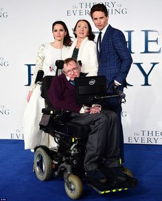 Poignant: Eddie Redmayne and Felicity Jones were joined by their real-life counterparts Stephen Hawking and his first wife Jane Wilde at the premiere of The Theory of Everything