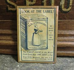 "Vintage Harvey's Wallhangers Irvine CA Framed Label La Belle Chocolatiere 4""x3"""