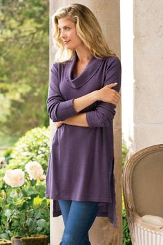 Our top selling Chatham Tunic is  made of a comfy waffle knit, with a trendy dropped-tail hem.