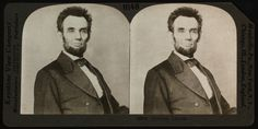 Stereograph: Bust portrait of Abraham Lincoln.