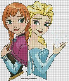 gráficos ponto cruz Frozen da Disney