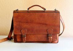 Vintage Distressed-Leather Satchel via @Bureau of Trade