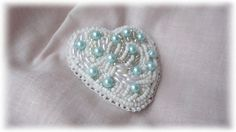 White Heart  hand embroidered brooch by JuliaUK on Etsy
