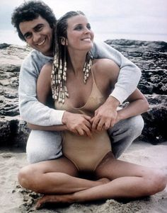 """Promotional photo of actors Dudley Moore and Bo Derek for the 1979 Blake Edwards film """"10"""