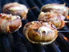 blue cheese-filled bacon-wrapped mushrooms