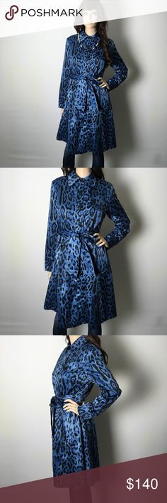 Gorgeous Blue Leopard Trench Dress Coat 💋 🙀 This is insanely gorgeous!! Buttons all the way down with a belt at the waist. Silk-like fabric. Cape back, and side pockets. In like new condition. I'm not sure if it was ever worn. Light weight, so it's great for any chilly day. 💙 Focus 2000 Jackets & Coats Trench Coats