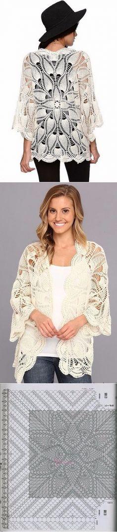 Pineapple crochet jacket scheme. White jacket is made crochet openwork pattern |