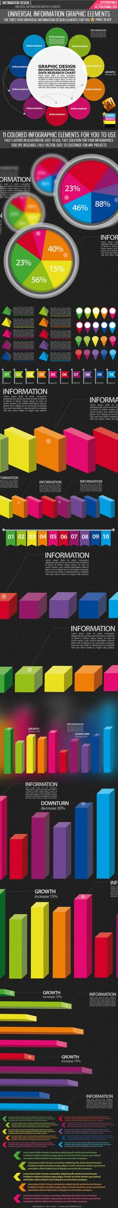 A set of universal information graphic elements, a total of 11 different type of information design elements for your information used.