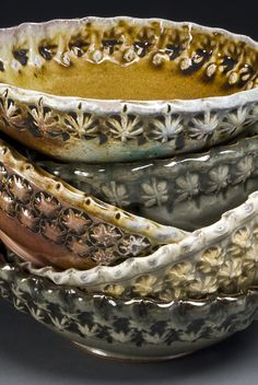 stamped & soda-fired bowls by Gary Jackson : Fire When Ready Pottery